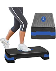 Aduro Sport Aerobic Exercise Step, Adjustable Workout Fitness Stepper Exercise Platform with Risers
