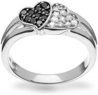 Bling Jewelry 925 Silver Pave Coffee CZ Two Hearts Ring Rhodium Plated