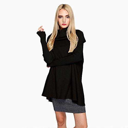 Tejido black Gris Sweater F Polo Chica Suelto Cuello XIU RONG Bzq5RR