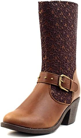 Luckers Women's Vintage Lace Overlay Buckle-Strap Western Cowgirl Mid-Calf Boots