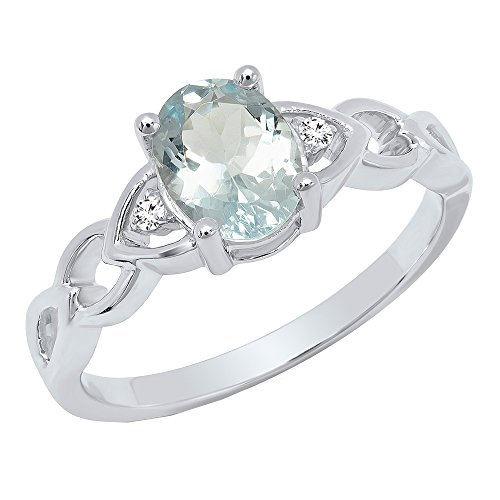 Dazzlingrock Collection Sterling Silver 8X6 MM Oval Aquamarine & Round White Diamond Ladies Engagement Ring (Size 4) - 8x6mm Oval Ring Setting