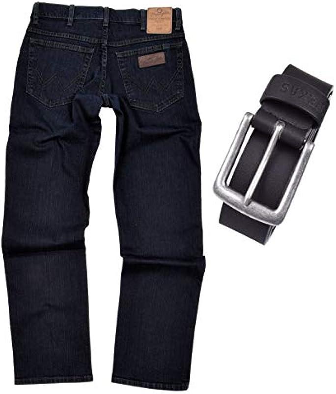 Wrangler Texas Stretch męskie dżinsy Regular Fit z paskiem (W46/L34, Blue Black): Odzież