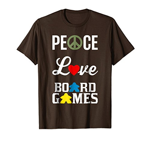 (Mens Peace Love Board Games with Peace Sign Heart Meeple T-shirt Medium)