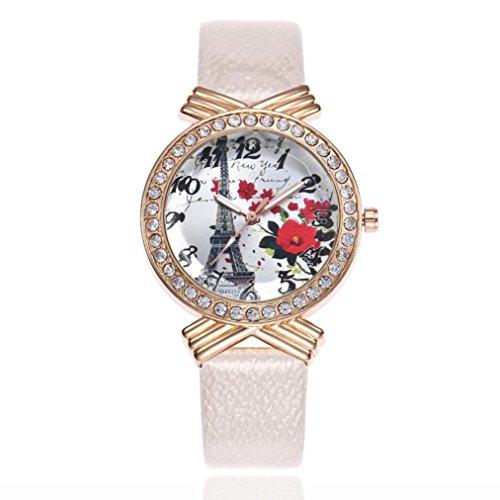 BCDshop Womens Wrist Watch Paris Eiffel Tower Slim Leather Band Ladies Quartz Dial Arabic Numerals Crystal Watch (White) (Arabic Plain Dial White)