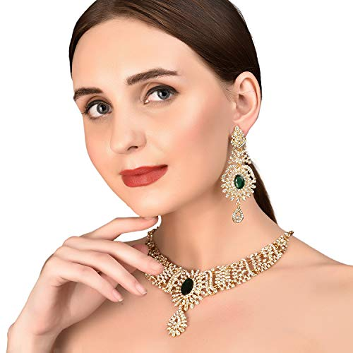 Touchstone Indian Bollywood Sparkling White Rhinestone and Faceted Oval Shape Green Faux Emerald Bridal Designer Jewelry Necklace Set for Women in Antique Gold Tone
