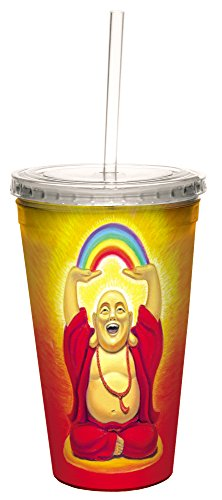Tree-Free Greetings 35492 Susan Halstenberg Laughing Buddha Double-Walled Cool Cup with Reusable Straw, 16-Ounce (Cup Susan)