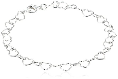 Sterling Silver 5.3mm Rolo Heart Link Bracelet, -