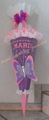 Schult/üten Bastelset Schmetterling 2 lila-rosa-wei/ß mit Glitzer-Herzchenkette und Glitzer-Rohling schmetterling gold 12x16cm