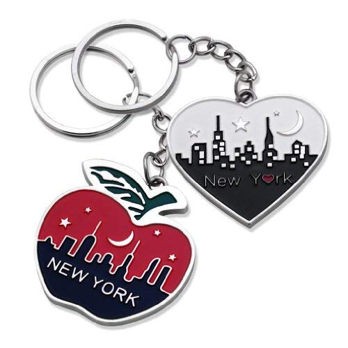 2x New York Big Apple Empire State Chrysler Building NYC Night Skyline with Big Apple Heart Shape Keychain NY Souvenir Gift Key Chain Ring - Set of 2 (New York Keychain Souvenirs)