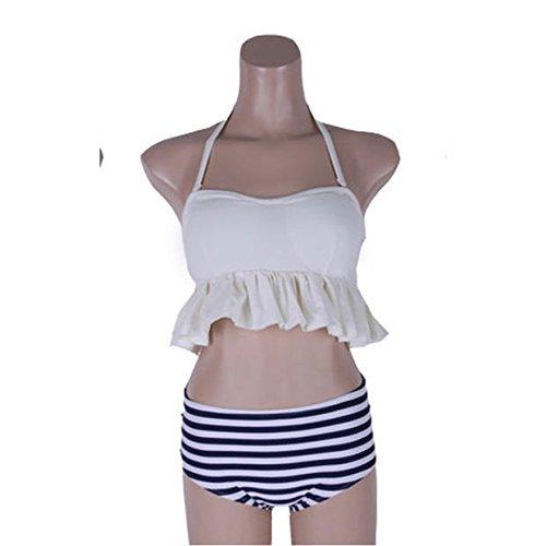 YUPE Hot spring Badeanzug hängen Hals bh Biss bikini Badeanzug weiblichen Lotusblatt Abdeckung mit hoher Taille Bauch konservative Badeanzug