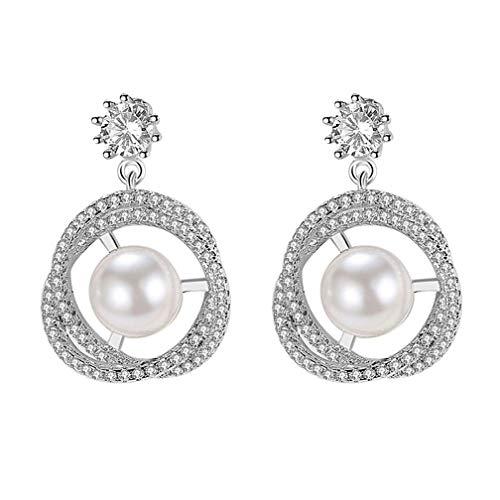 Pearl Earrings for Girls Cubic Zirconia Knot Circles Earrings Sterling Silver Freshwater Cultured Pearl Zircon Stud Earrings
