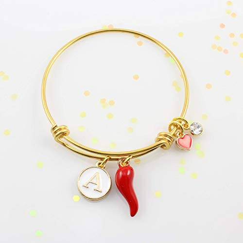 Personalized Little Girls Red Italian Horn Bracelet • Cornicello Bangle Bracelet with Initial • *Fits Girls 5-10 Years Old • Gold Adjustable Charm Bangle • Birthday Gift • Sicilian Italian Jewelry