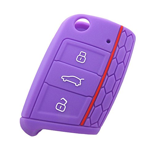 ADS Silicone Car Key Protection Case/ Car Key Cover /Fob Holder for VW SKODA SEAT 3 Buttons -Universal Accessories for Volkswagen VW Golf 7 GTI Golf VII MK7 Skoda Octavia A7 Seat Leon 5F SC ST(Purple)