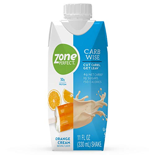 ZonePerfect Carb Wise High-Protein Shakes, Orange Cream Flavor, for A Low Carb Lifestyle, with 30g Protein, 11 fl oz, 12 Count