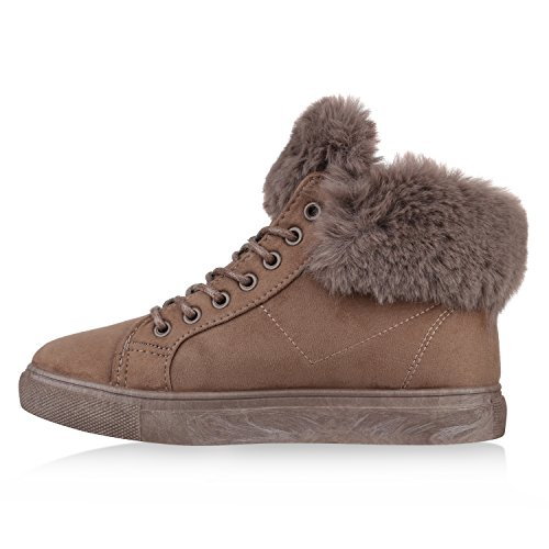Stiefelparadies Damen Stiefeletten Winter Boots mit Plateau Kunstfell Profilsohle Flandell Khaki Zipper