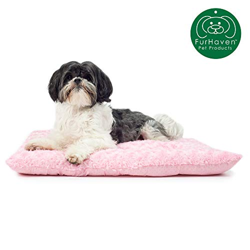 Furhaven Pet Dog Bed Kennel Pad | Ultra Plush Curly Faux Fur Crate Or Kennel Mat Tufted Pillow Cushion Pet Bed for Dogs & Cats, Strawberry, Small (Tufted Bed Dog)