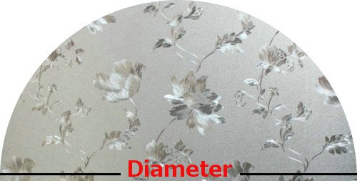 Precut Floral Glass Privacy Arched Window Film, Self Static Adhesive Cling, 34 inches diameter