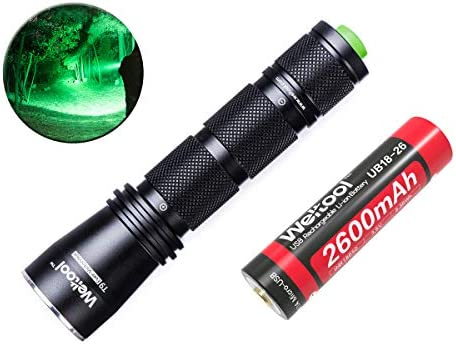 Weltool T9 Predator Hunting Flashlight 522nm LED Green Light for Coyote Hog Varmint – Compact 236 Yards Long Throw Shock-resistant
