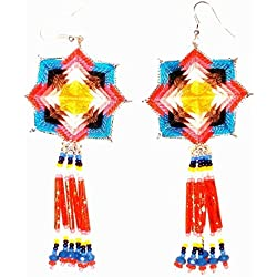 "Aretes Huichol Tradicionales""Telaraña Solar"""
