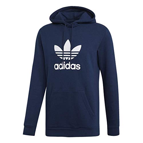 adidas Originals Men's Trefoil Hooded Sweatshirt, collegiate Navy/White, Medium