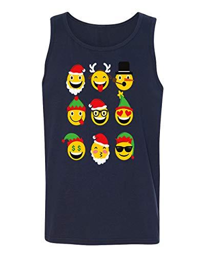 Christmas Animated Emoji Faces Men's Tank Top Shirt for Men(Navy,Small)]()