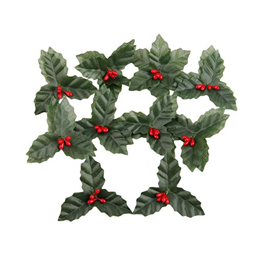 Yetaha 10 pcs Artificial Leaf + Holly Berries for Wedding Party Home Decoration DIY Christmas Artificial Leaf Flower Silk Leaves