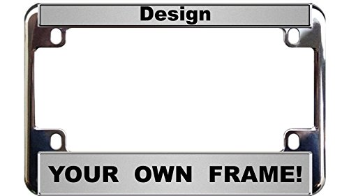 MOTORCYCLE Custom Personalized Chrome Metal License Plate Frame - Silver / Black