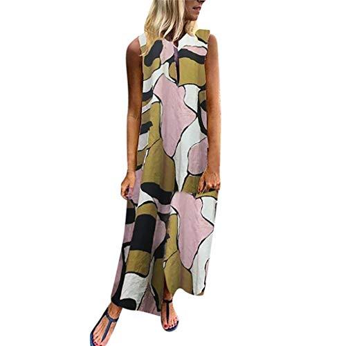 Womens Bohemian Printed Wrap Bodice Sleeveless Crossover Maxi Dress,FAPIZI Summer Loose V-Neck Long Dress Yellow