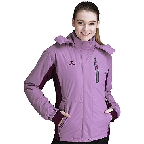CAMEL CROWN Women's Mountain Snow Waterproof Ski Jacket Detachable Hood Windproof Fleece Parka Rain Jackt Winter Coat Purple L