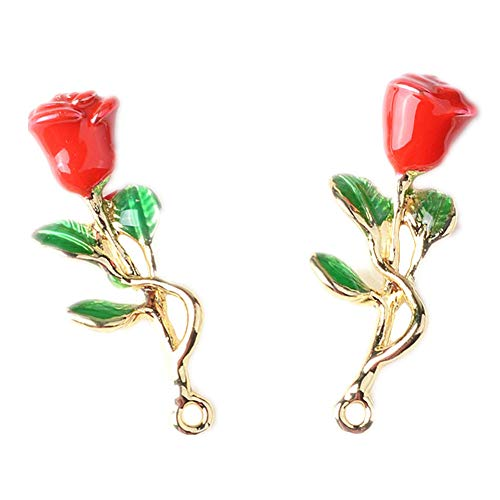 10 Pack 3D Rose Charms Flower Wine Glass Charms Bracelet Necklace Pendants Jewelry Making Beads for Birthday Christmas Valentine's Gift