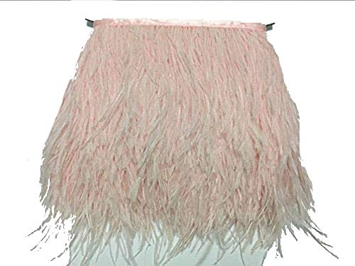 Pink MELADY 10 Yards Fashion Dress Sewing Crafts Costumes Decoration Ostrich Feathers Trims Fringe with Satin Ribbon Tape