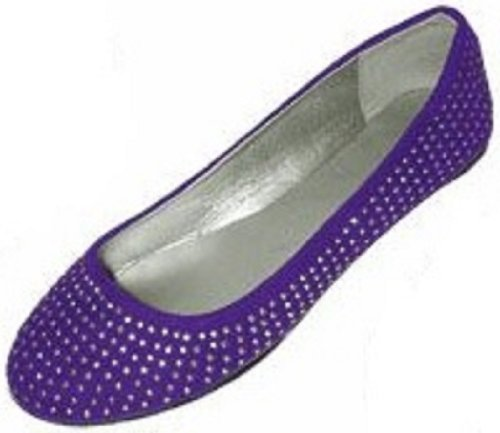 9fab026b9 Womens Faux Suede Rhinestone Ballerina Ballet Flats Shoes (5 6