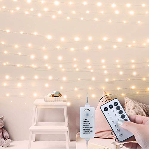 USB Fairy String Lights with Remote and Power Adapter, 66 Feet 200 Led Firefly Lights for Bedroom Wall Ceiling Christmas…