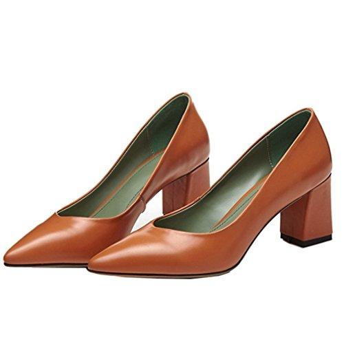 ENMAYER Damen Mikrofaser Leder Pumps Wildleder Schuhe Orange