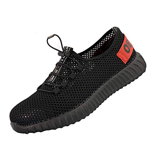 Safety Shoes for Men, Work Construction Sneakers, Breathable Lightweight Comfortable Steel Toe Shoes for Women, 127 Red 42