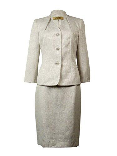 Kasper Women's Fleur de Lis Metallic Skirt Suit (8, Ivory (Fleur De Lis Skirt)