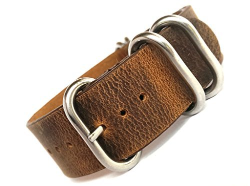 time+ 22mm 5-ring NATO ZULU Leather Military Watch Strap Vintage (Time Brown Leather)