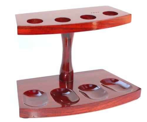 herry Finish 4 Pipe Stand Pipe Holder Pipe Furniture (Cherry Finish Four)