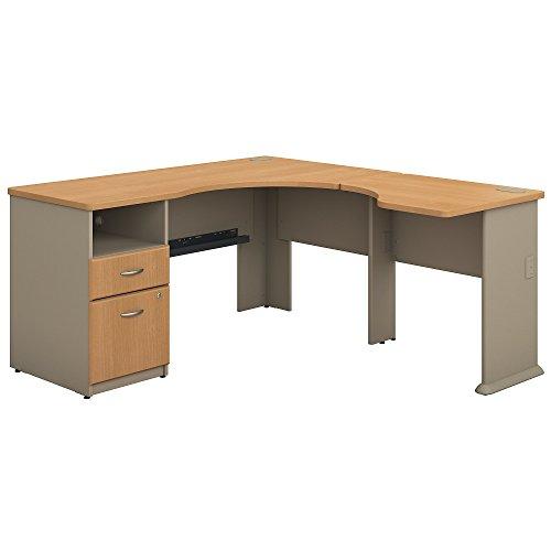 Bush Business Furniture Series A 60W L Shaped Corner Desk with 2 Drawer Pedestal and 30W Bridge in Light Oak and (L-shaped Set Pedestal)