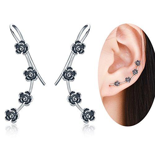 WOSTU Vintage 925 Sterling Silver Flower Climber Cuff Earrings Long Ear Pins Clip On Fashion (Vintage Pin Earrings)