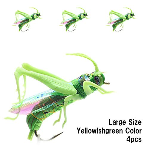 YZD Realistic Grasshopper Dry Fishing Flies Set of 12 Flies Cricket Hopper Fly Fishing Lure for Trout Pike Carp Flyfishing (Large A4 Green)