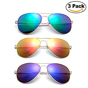 Newbee Fashion - 2 Pack & 3 Pack Classic Aviator Sunglasses Flash Full Mirror lenses Slim Frame Super Light Weight for Men Women with Spring Hinge Clear Tip UV Protection