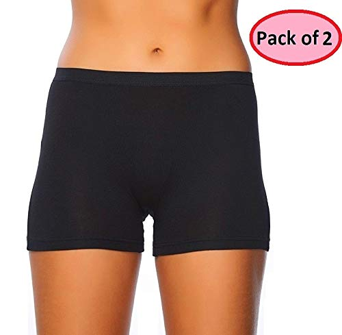 (EVARI Women's Boyshort Panties Comfortable Cotton Underwear Pack of 2 (Black, Medium))