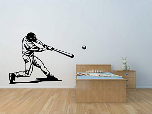 (Vinyl Wall Art Inspirational Quotes and Saying Home Decor Decal Sticker Sport Wall Sticker Baseball Batter Vinyl Wall Decal Sticker for Gym Boys)