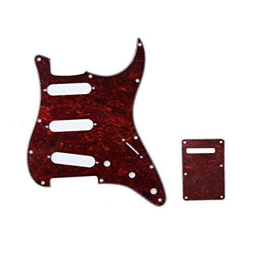 (Musiclily SSS 11 Holes Strat Electric Guitar Pickguard and BackPlate Set for Fender US/Mexico Made Standard Stratocaster Modern Style Guitar Parts,4Ply Red Tortoise)
