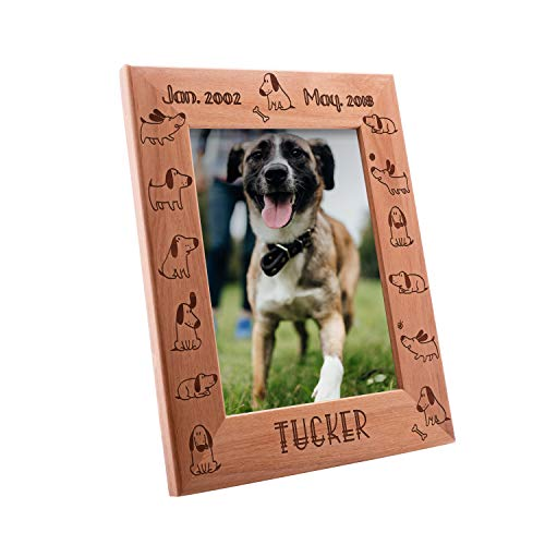 Personalized Pet Memorial, Customized Picture Frame, Cat and Dog Wood Photo Frame - Custom Frame - Birthday Gift Size Options: 4x6 | 5x7 | 8x10 (PF6)