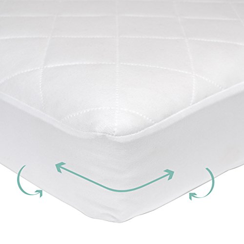 terproof Crib and Toddler Fitted Mattress Pad Cover and protector, Soft, Breathable and hypoallergenic, Preshrunk, Machine washable, White, 52