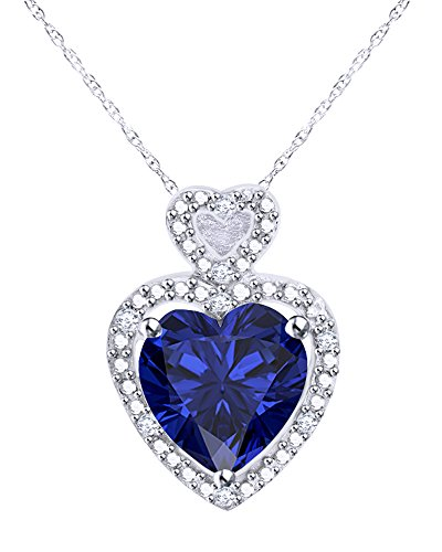 Pave Multi Frame (10K Solid Gold Heart Cut Simulated Blue Sapphire and Diamond Accent Heart Frame Pendant Necklace)