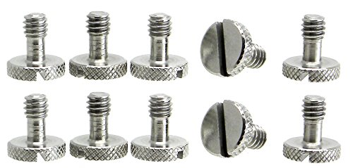 """10 Pack Steel Screws 1/4"""" Tripod Quick Release QR Plate Came"""