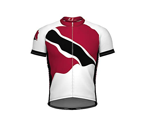 (Trinidad and Tobago Emblem Full Zipper Bike Short Sleeve Cycling Jersey for Men - Size M)